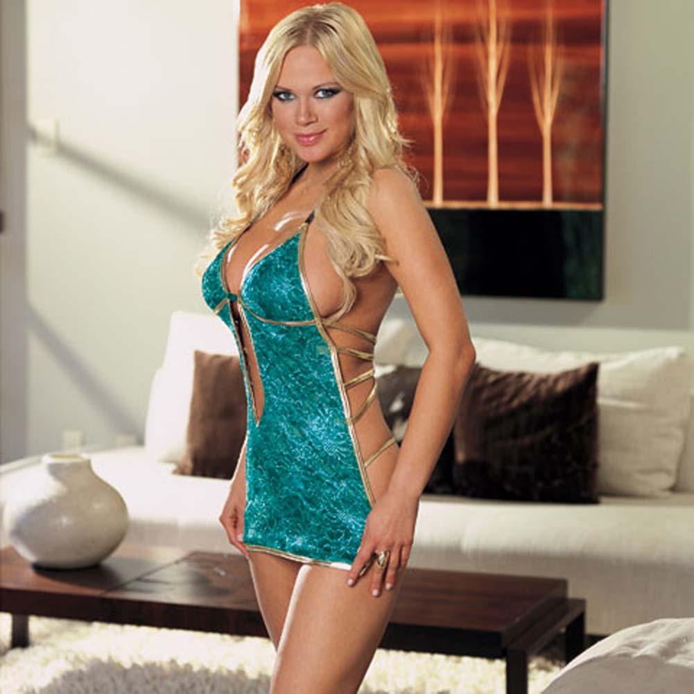 Babydoll with Gold Satin Trim and Thong Turquoise Medium - View #1