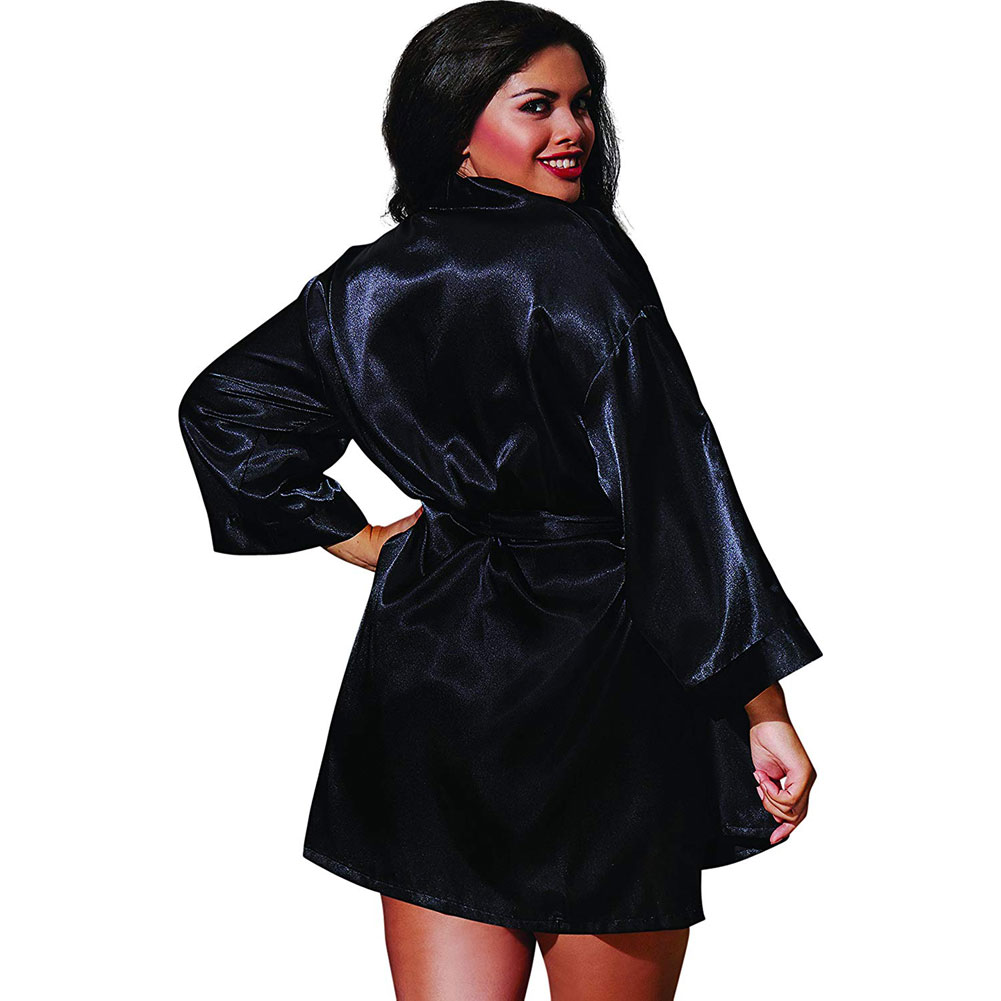 Dreamgirl Babydoll and Robe with Padded Hanger Plus Size 1X/2X Black - View #2
