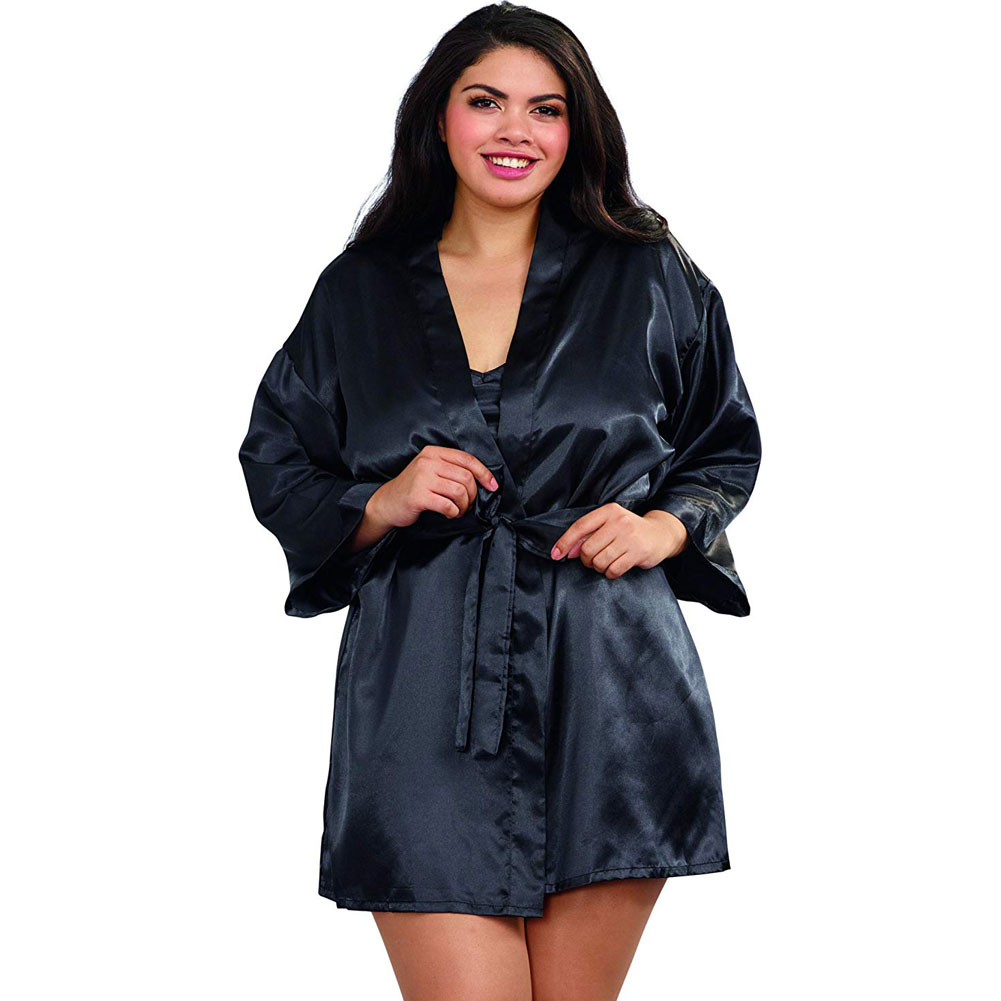Dreamgirl Babydoll and Matching Robe with Padded Hanger 3X/4X Classic Black - View #1