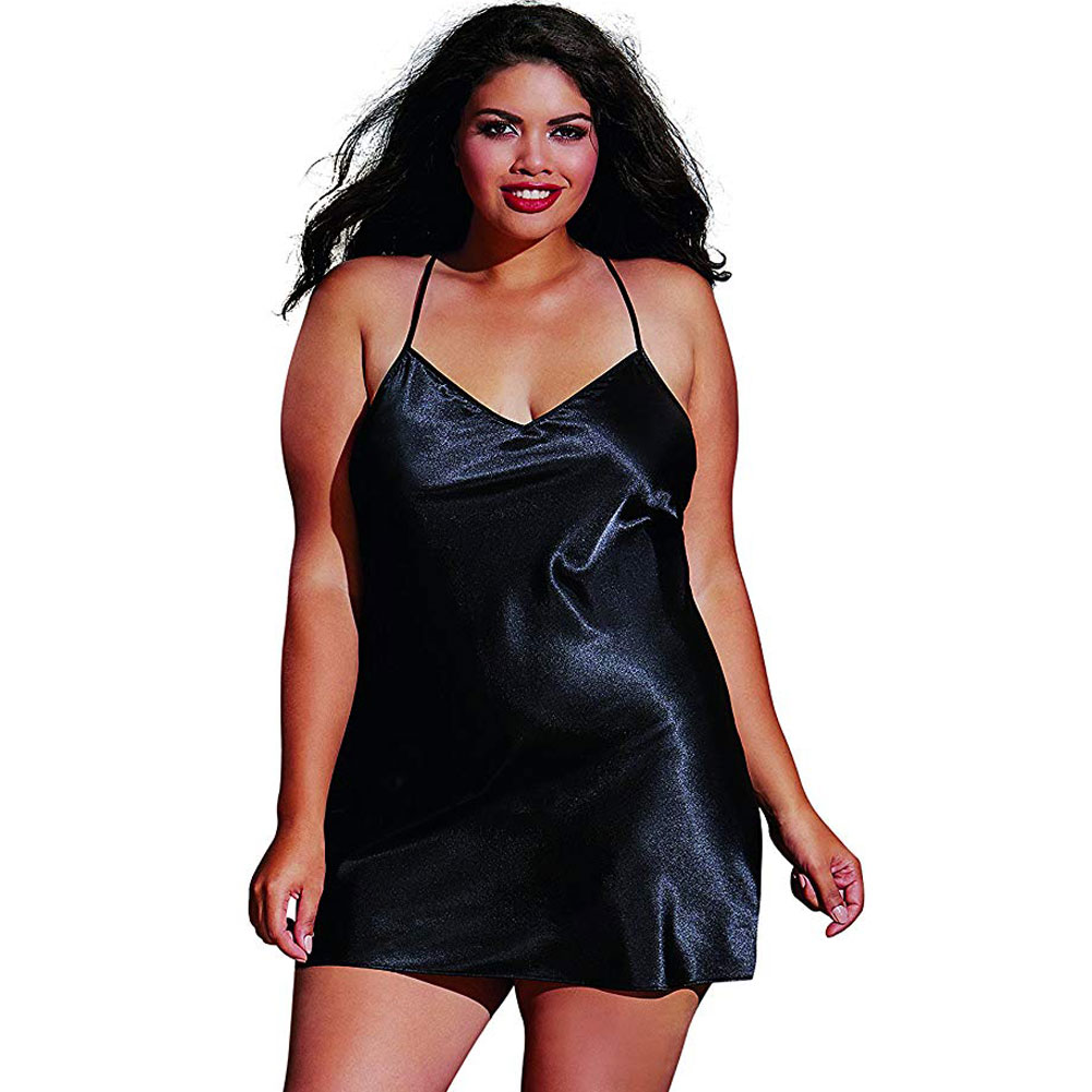 Dreamgirl Babydoll and Matching Robe with Padded Hanger 3X/4X Classic Black - View #3
