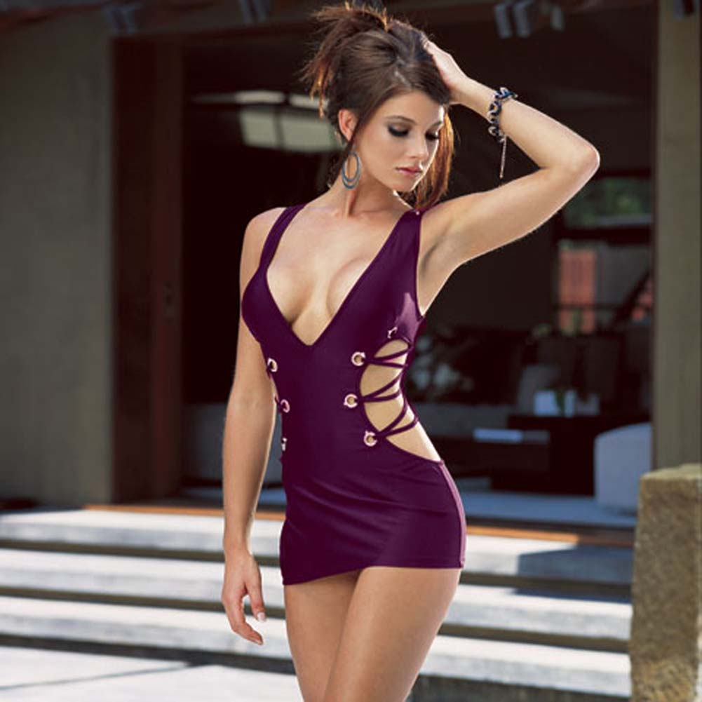 Microfiber Tank Dress with Thong Purple Medium - View #1