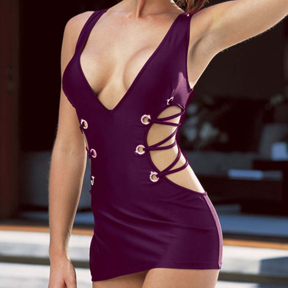 Microfiber Tank Dress with Thong Purple Medium - View #3