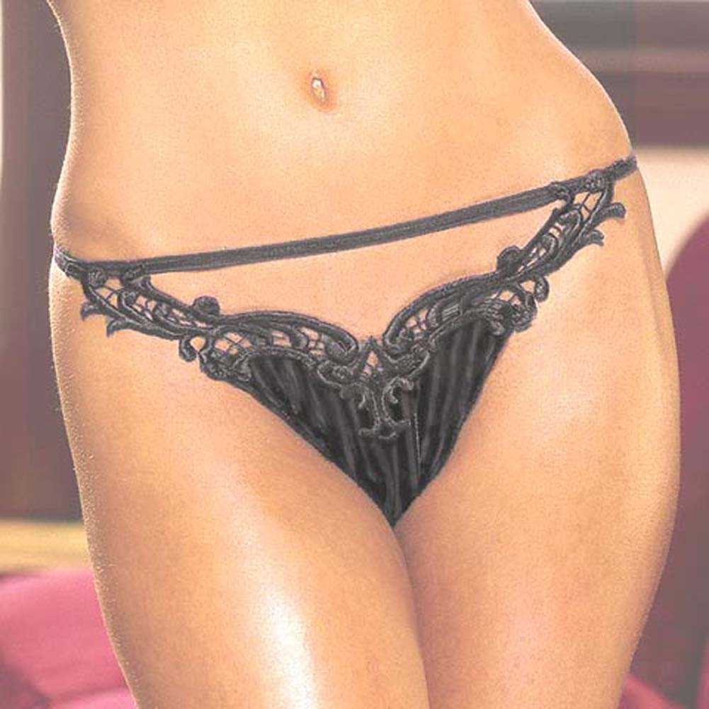 Sheer Stripe Velvet Thong Style 1232 Black - View #1
