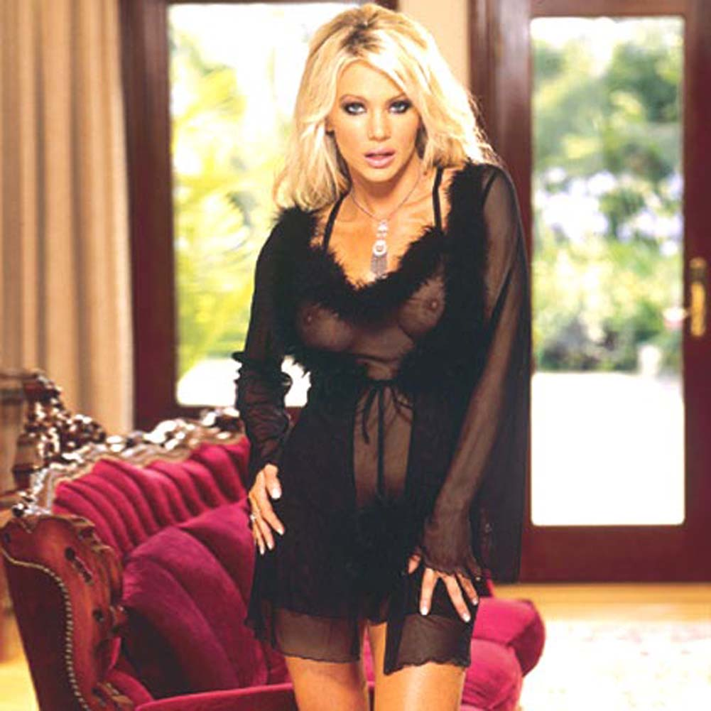 Marabou Trimmed Robe and Babydoll Black Large - View #2