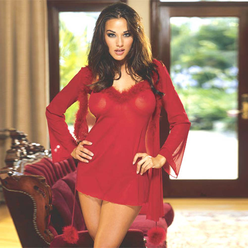 Marabou Trimmed Robe and Babydoll Red Medium - View #2
