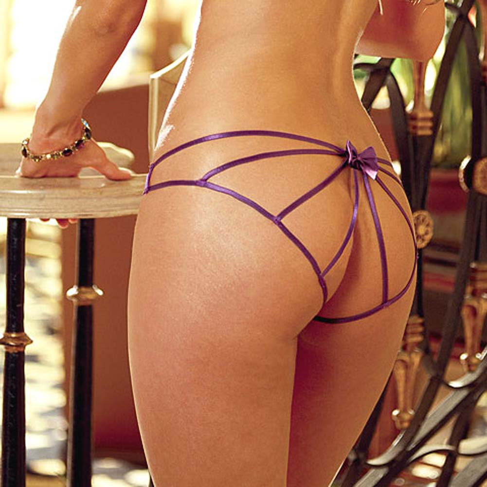 Spandex Net Open Back Panty Purple - View #3