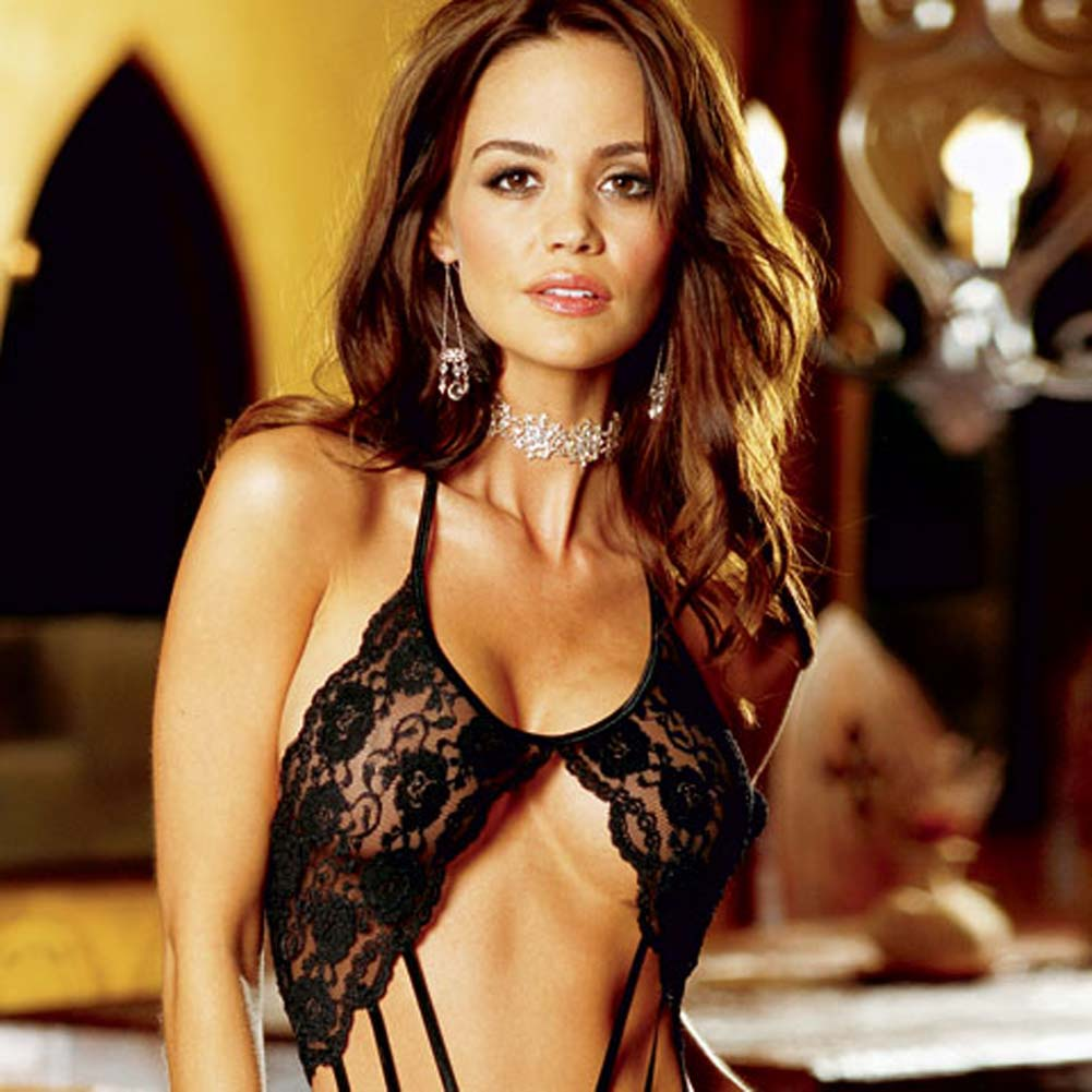 Strappy Stretch Lace Teddie with Thong Back Black - View #4