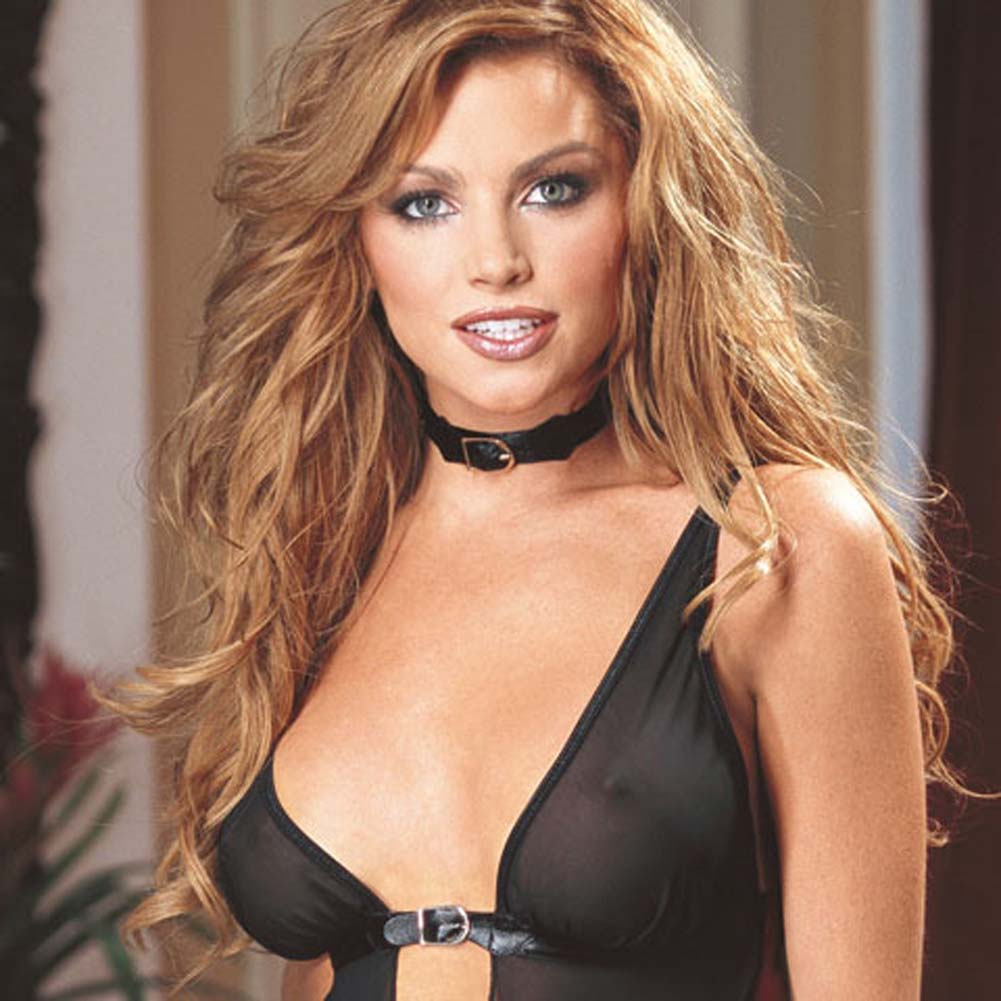 Buckled Bust Babydoll Black Large - View #2