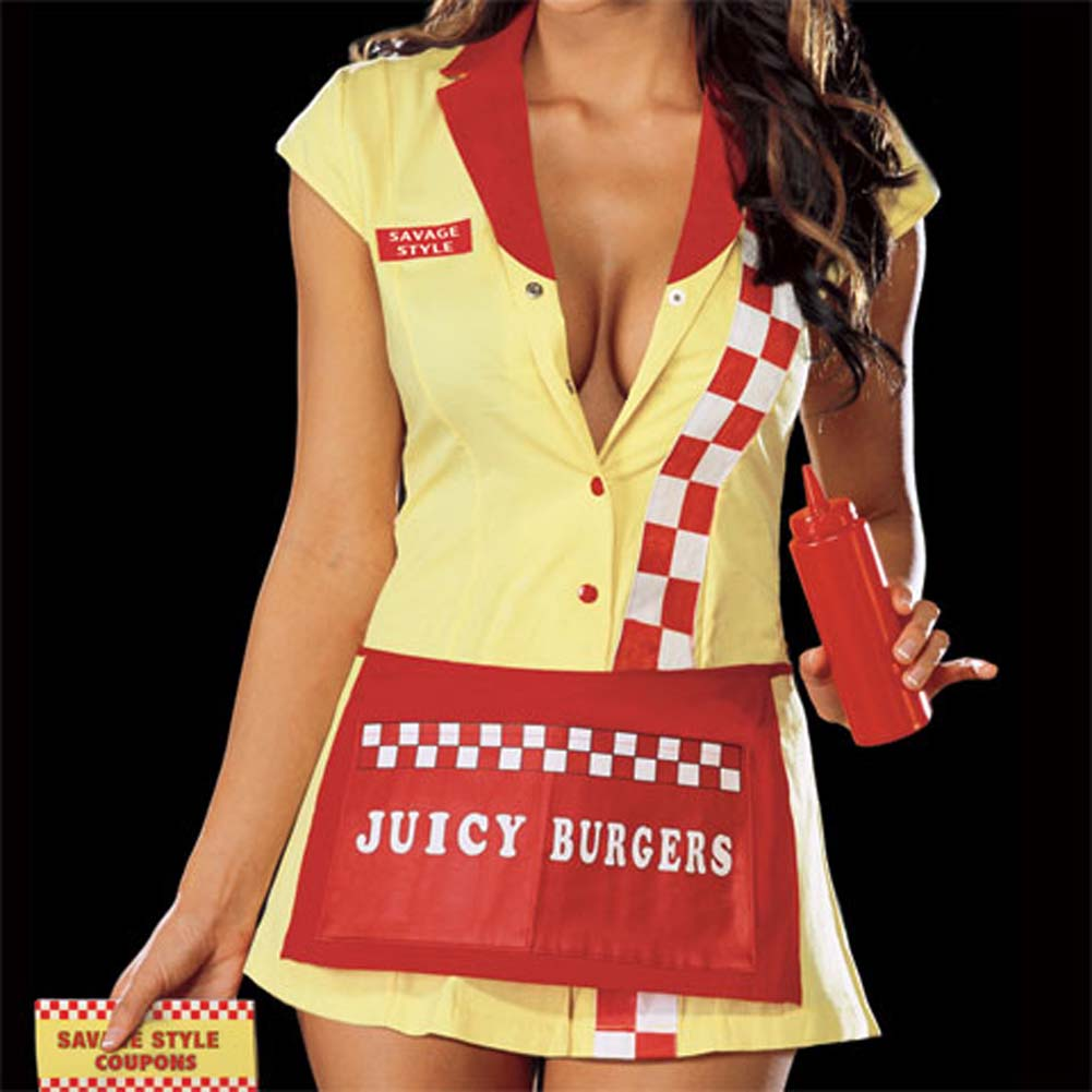 Juicy Burger Babe Costume Yellow Small - View #4