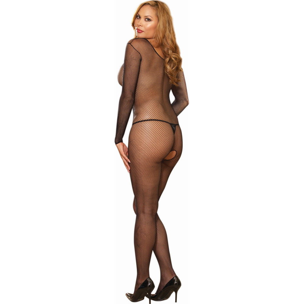 Amsterdam Fishnet Open Crotch Bodystocking Plus Size Black - View #2