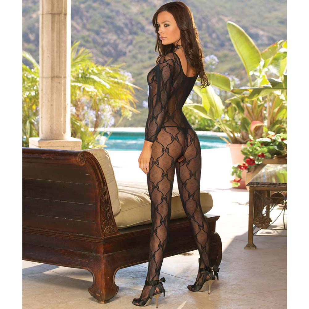 Bordeaux Style Bow Lace Bodystocking One Size Black - View #2