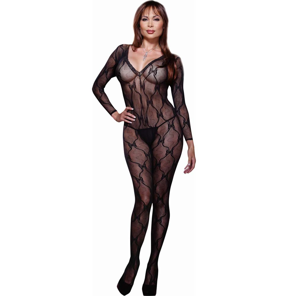 Ribbon and Bow Embroidered Crotchless Bodystocking Plus Size Black - View #1