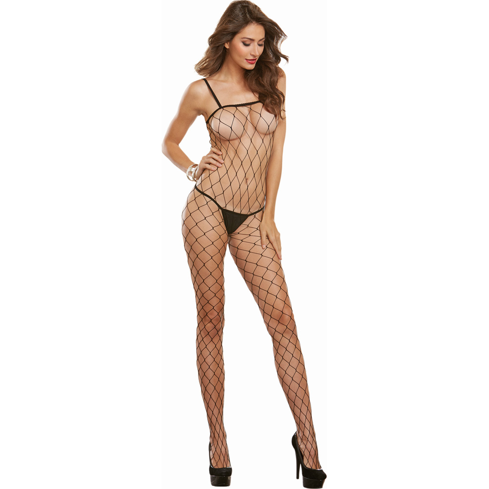 Cool Geneva Diamond Mesh Bodystocking One Size Black - View #1