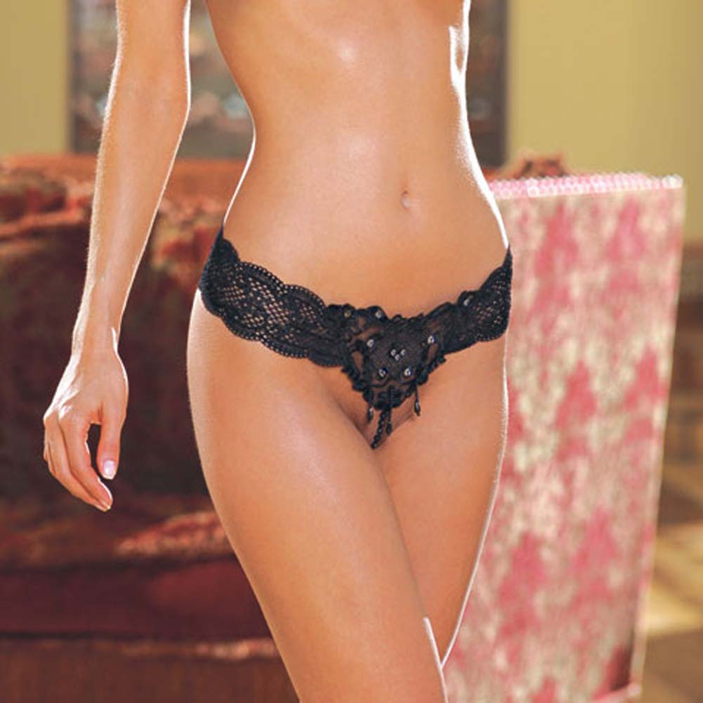 Lace Waistband with Pearl Trim G-String Style 1299 Black - View #1