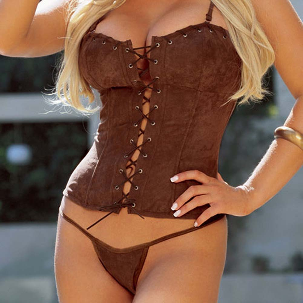 Sexy Suede Corset with Cap and Thong Brown Size 36 - View #3