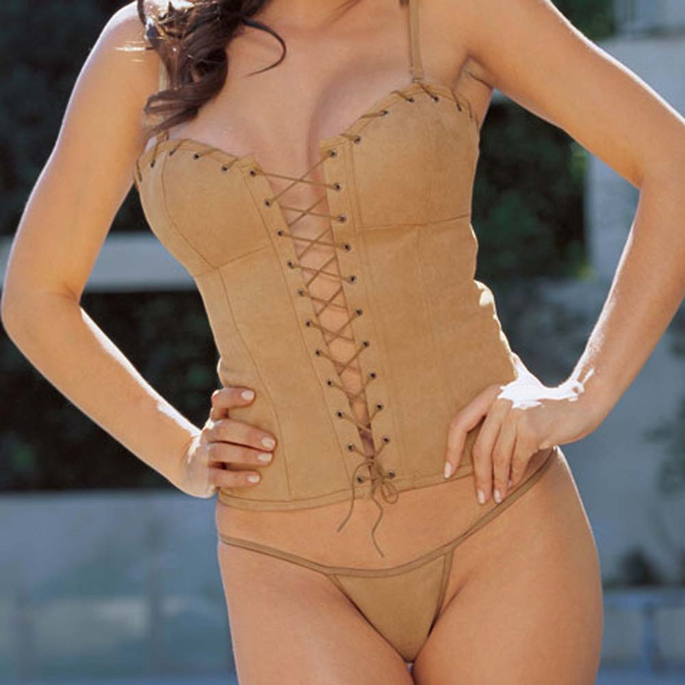 Sexy Suede Corset with Cap and Thong Camel Size 32 - View #3