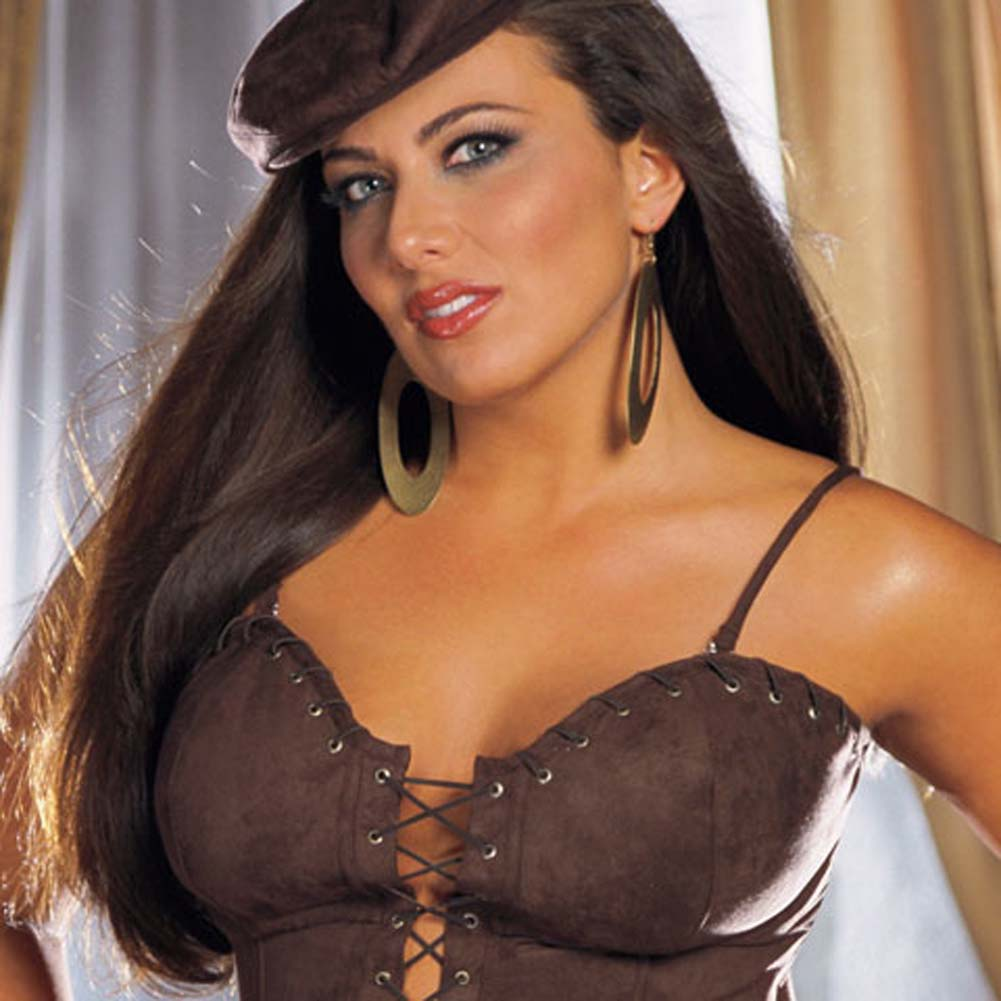 Sexy Suede Corset with Cap and Thong Brown Plus Size 40 - View #2