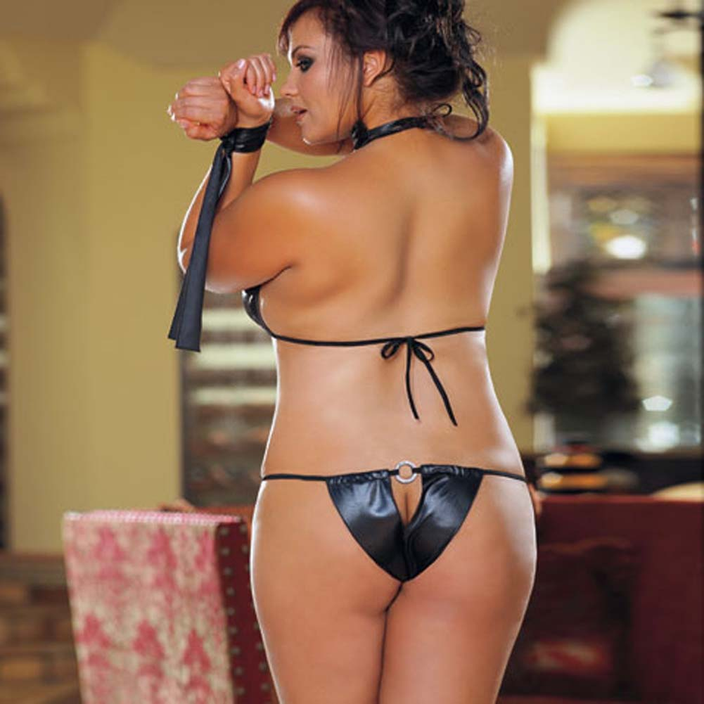 Bondage Betty 4 Piece Set Black Plus Size - View #3