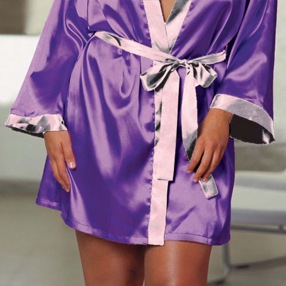 Charmeuse Reversible Sleepwear Robe Purple/Lilac Plus 3X4X - View #4
