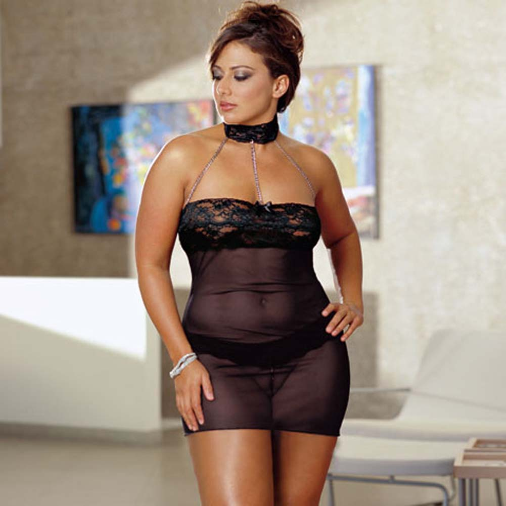 Chains of Love Babydoll Set Plus Size Black - View #2