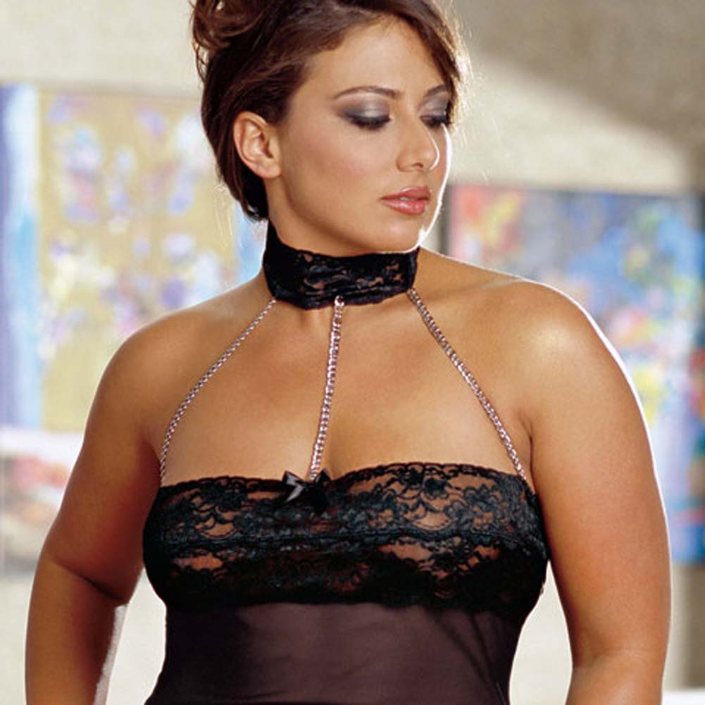 Chains of Love Babydoll Set Plus Size Black - View #4