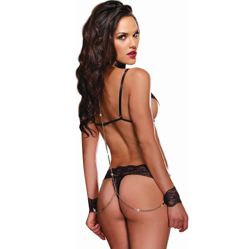 Lace Trim Open Cup Bra Top and Lace Thong Set One Size Black - View #2