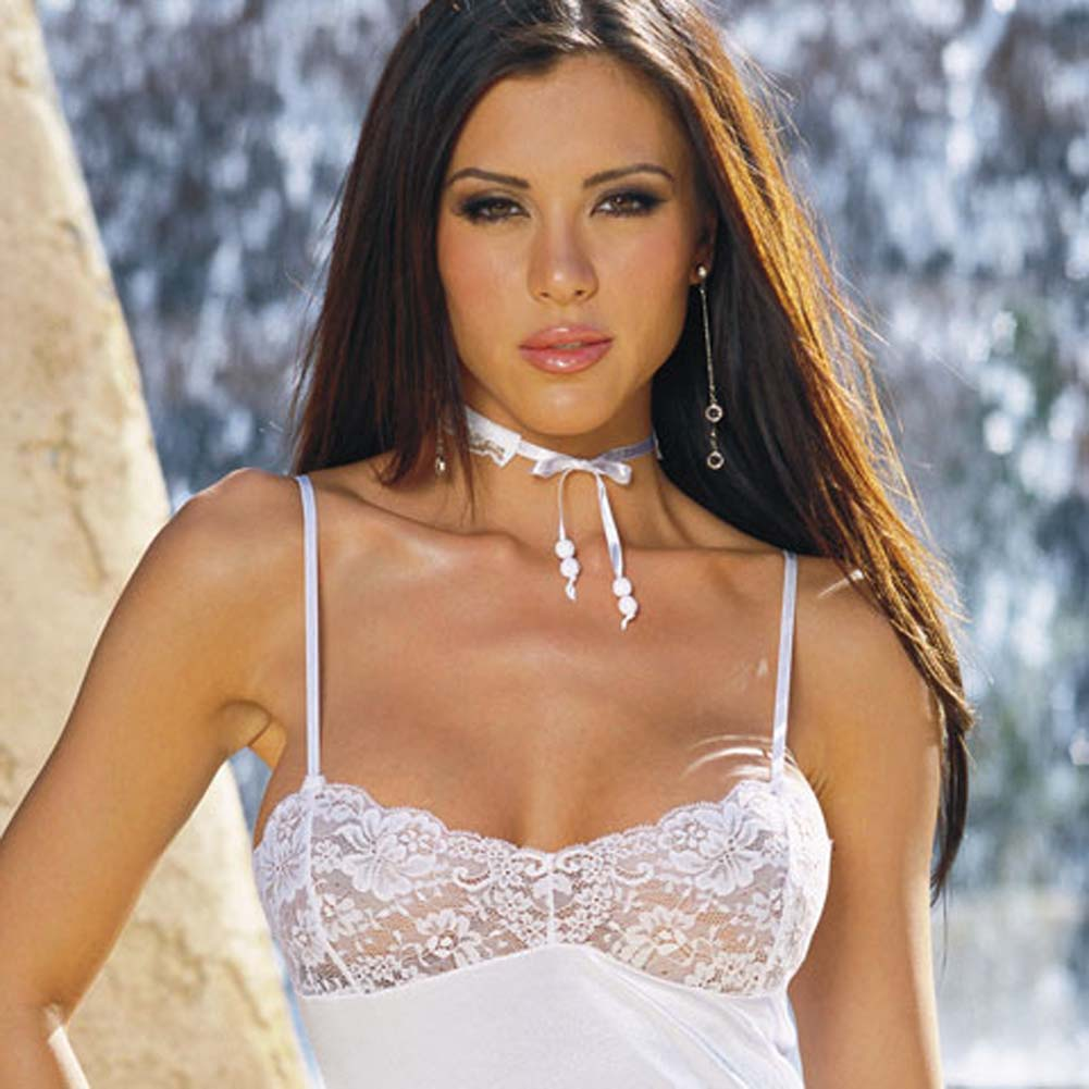 Stretch Satin and Lace Babydoll with Thong White Medium - View #2