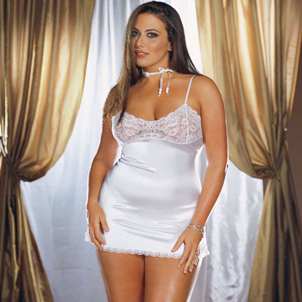 Stretch Satin and Lace Babydoll with Thong White Plus 1X/2X - View #1