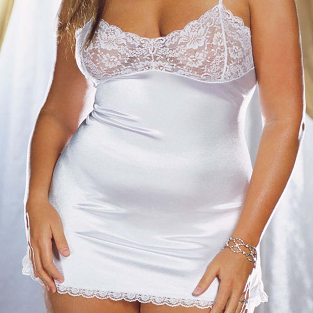 Stretch Satin and Lace Babydoll with Thong White Plus 1X/2X - View #3