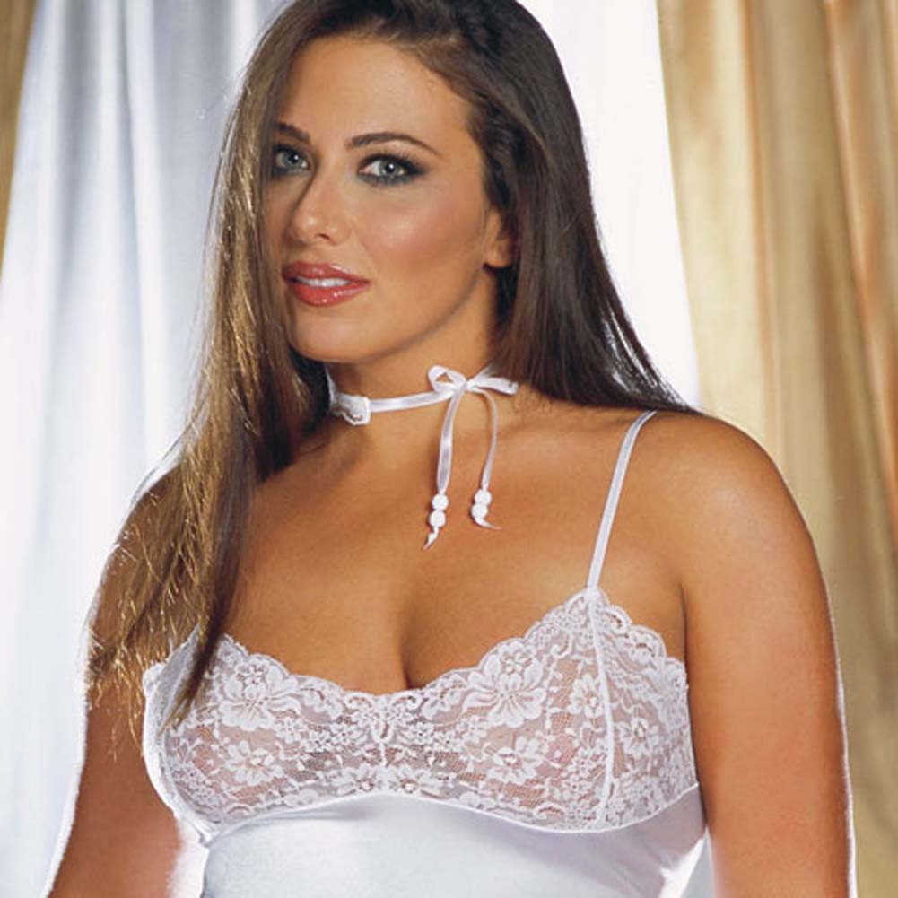 Stretch Satin and Lace Babydoll with Thong White Plus 3X/4X - View #2