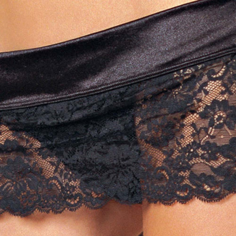 Lace Halter Bra and Open Sides Lace Mini Skirt Black Medium - View #4