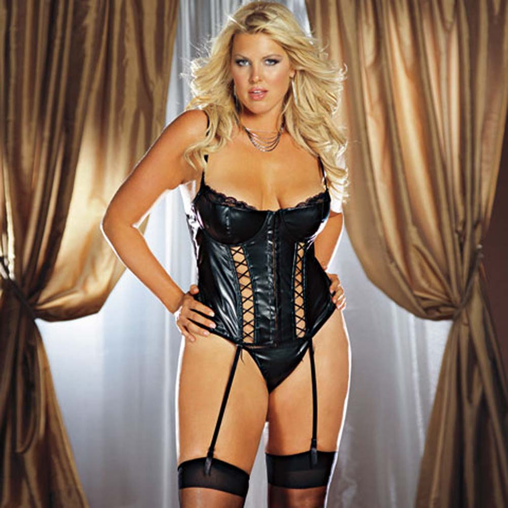 Faux Leather Lace Up Bustier Set Black Plus Size 1X/2X - View #1