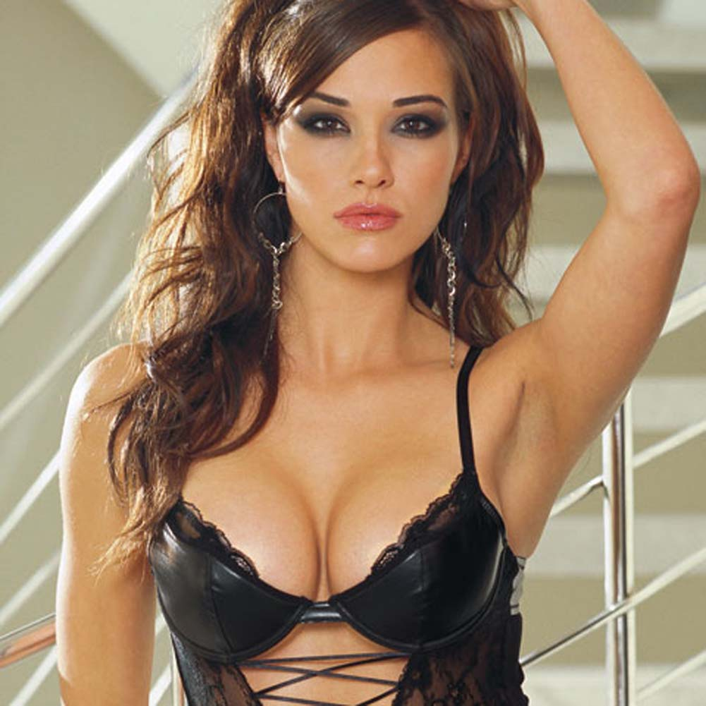 Stretch Lace Teddy with Faux Leather Cups Black Small - View #2