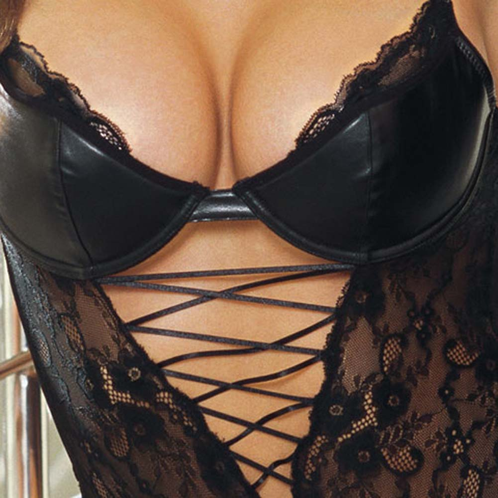 Stretch Lace Teddy with Faux Leather Cups Black Small - View #4