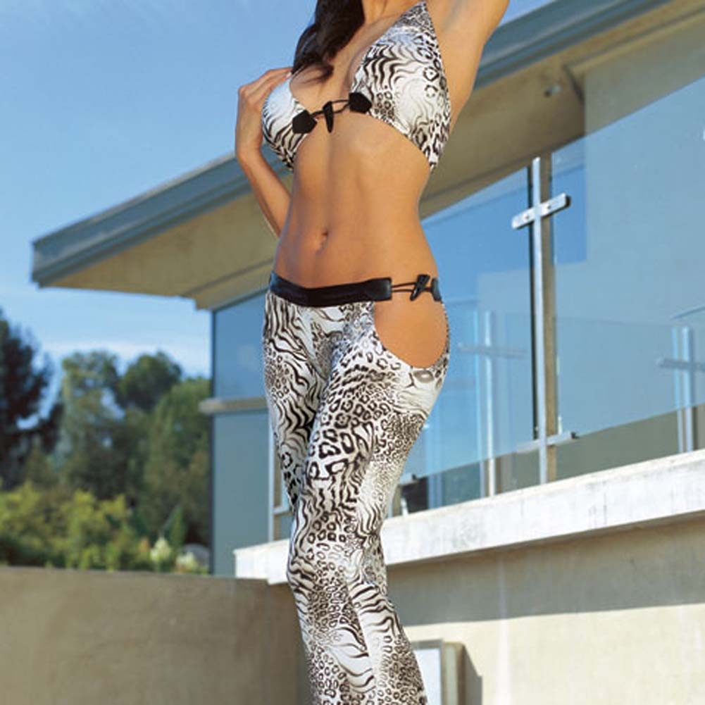 Animal Print Top and Pants Set Black Large - View #3