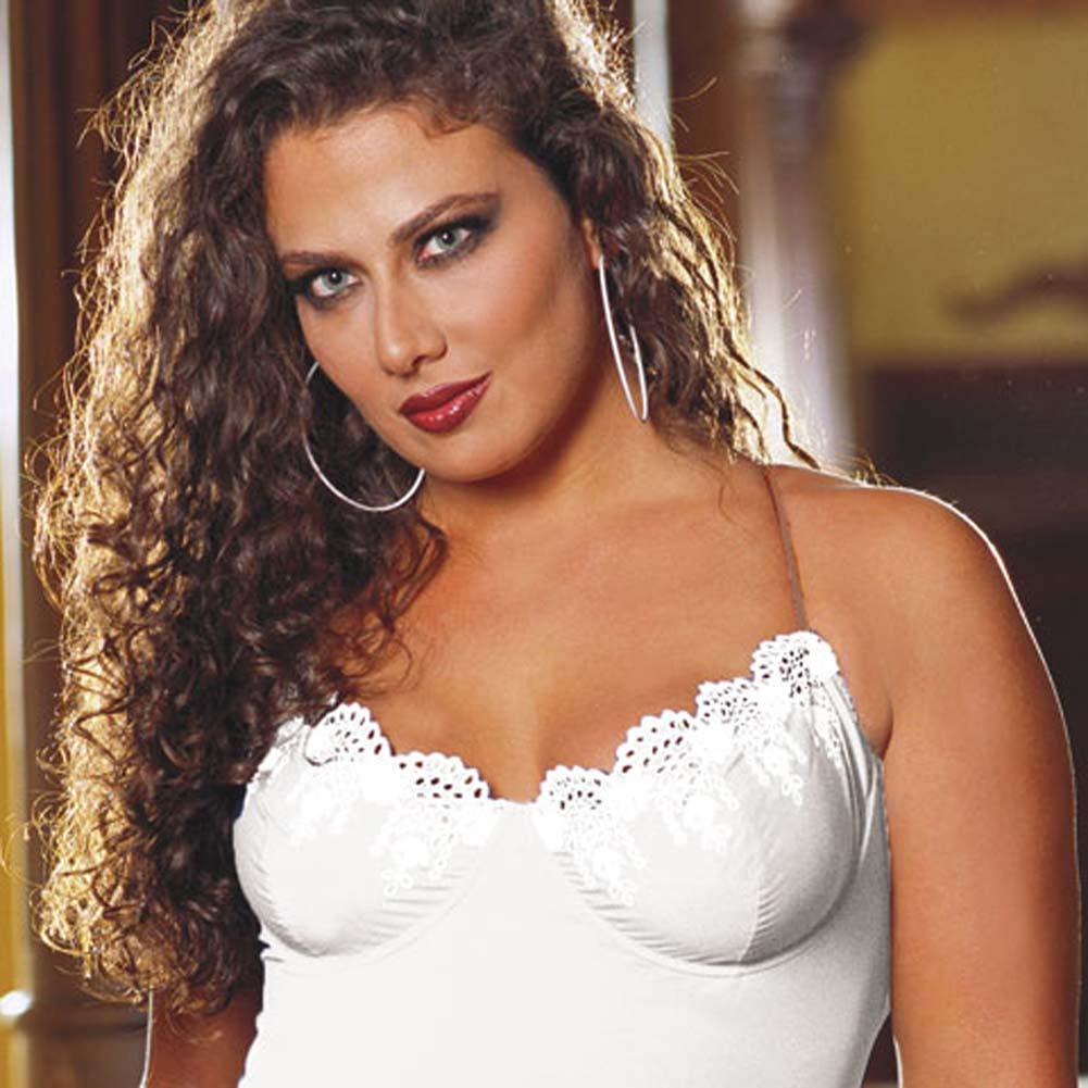 Sleek Underwire Babydoll with Thong White Plus Size 3X/4X - View #2