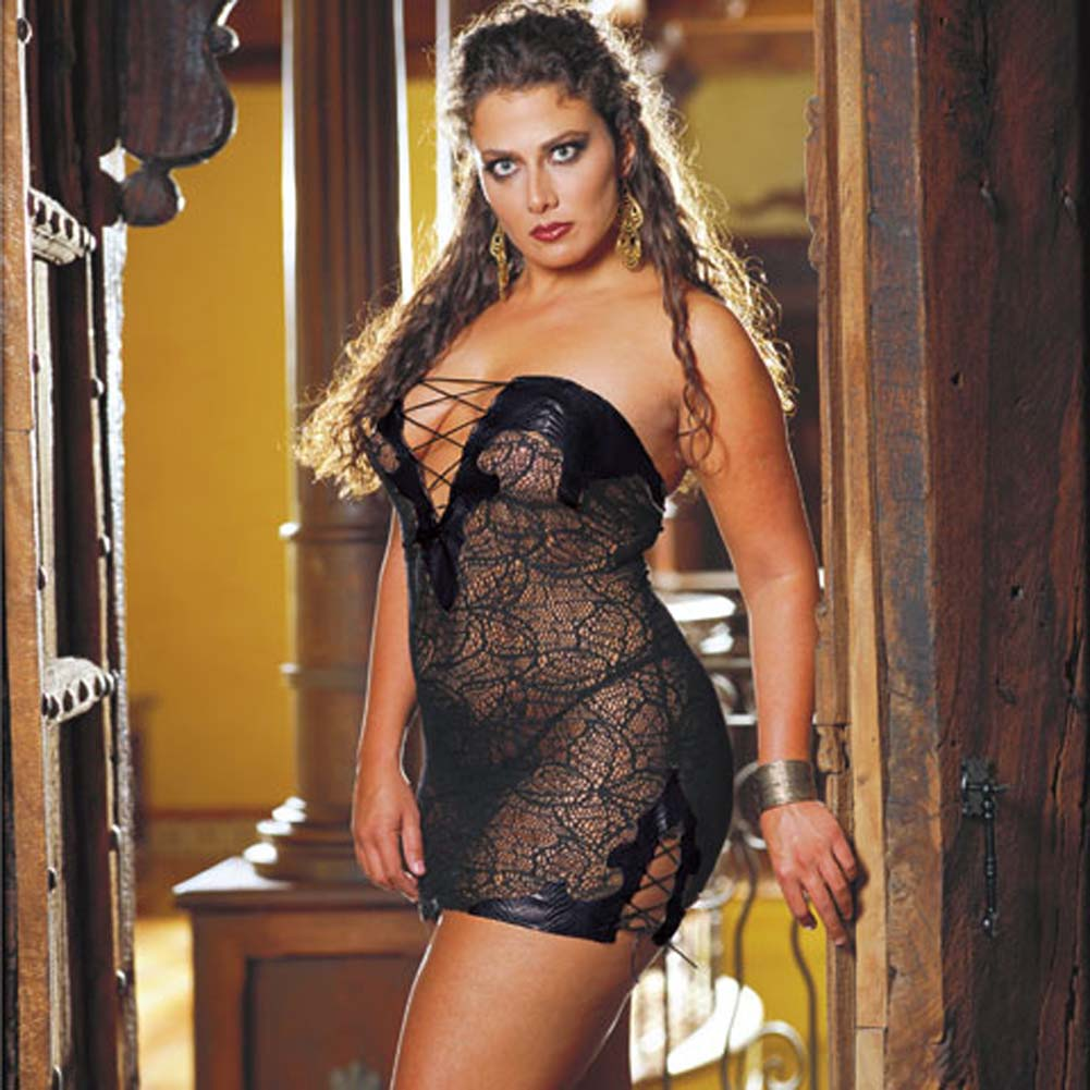 Faux Snakeskin Micro Dress and Thong Plus Size 3X/4X Black - View #1