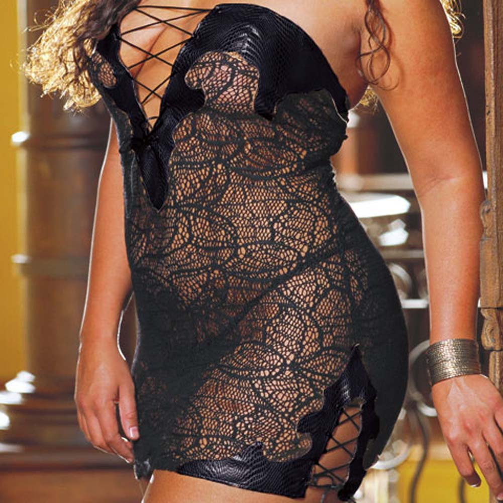 Faux Snakeskin Micro Dress and Thong Plus Size 3X/4X Black - View #3