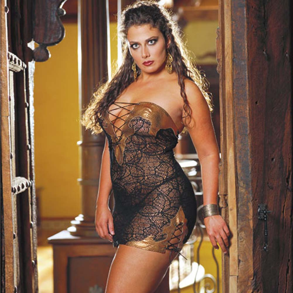 Faux Snakeskin Micro Dress and Thong Plus 3X/4X CopperBlack - View #1