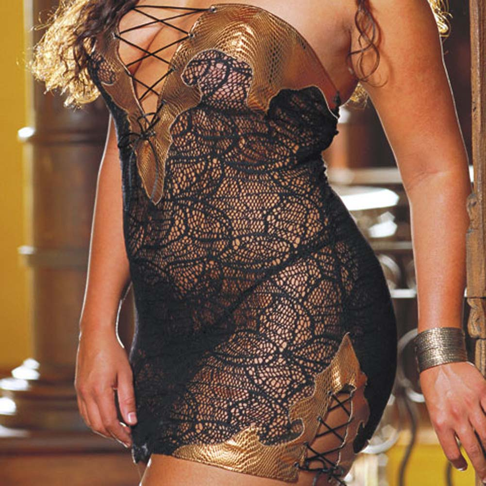 Faux Snakeskin Micro Dress and Thong Plus 3X/4X CopperBlack - View #3