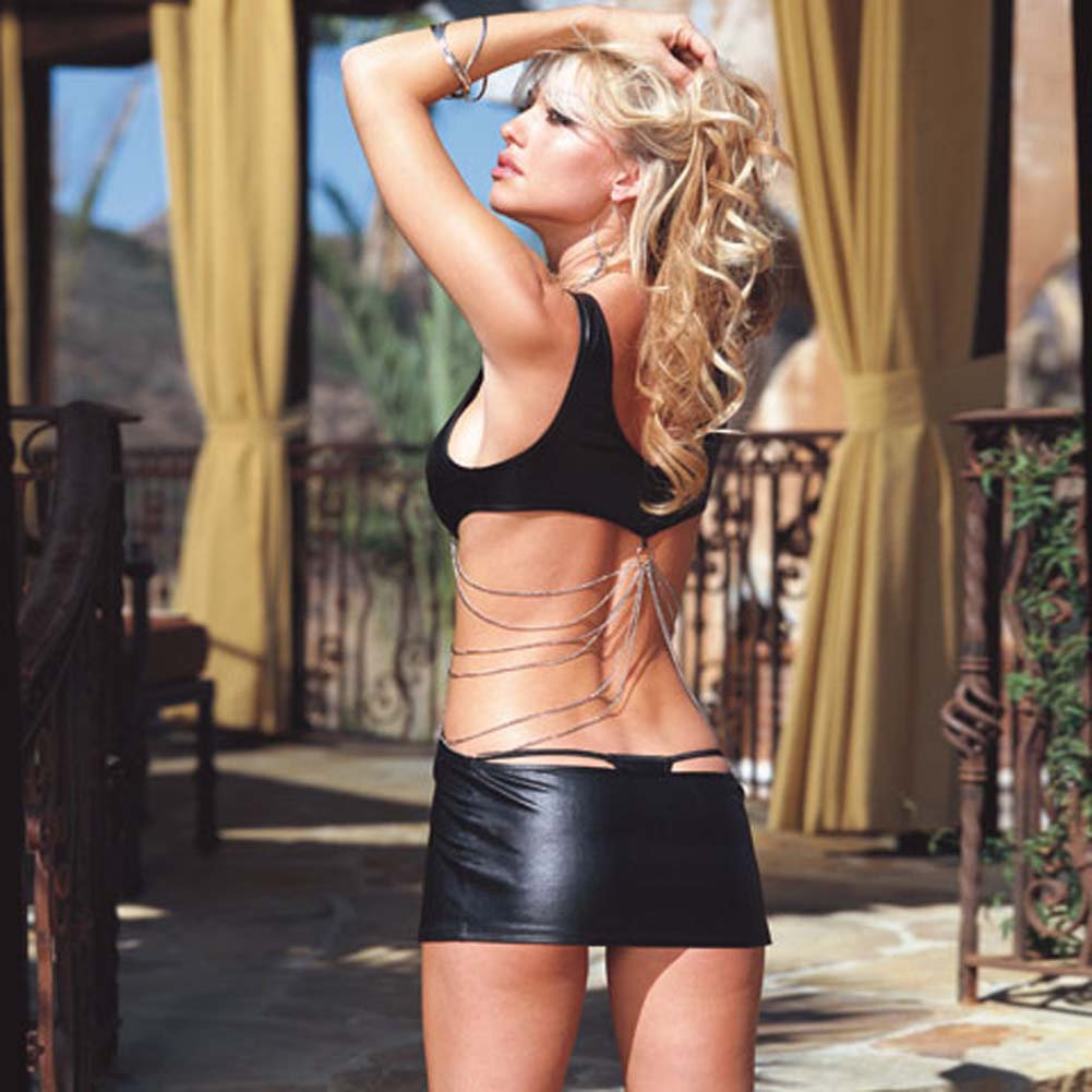 Glossy Mini Dress with Chain Details and Thong Black Small - View #2