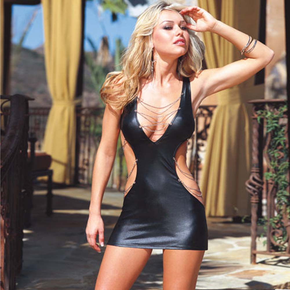 Glossy Mini Dress with Chain Details and Thong Black Medium - View #1