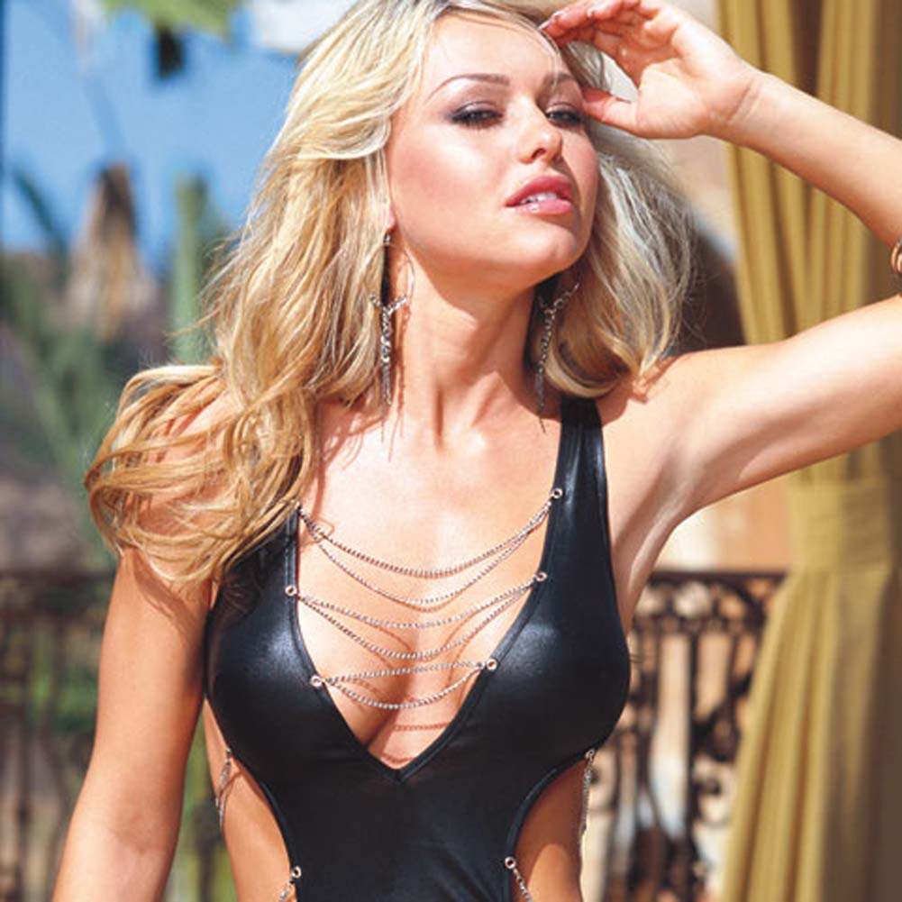 Glossy Mini Dress with Chain Details and Thong Black Medium - View #3