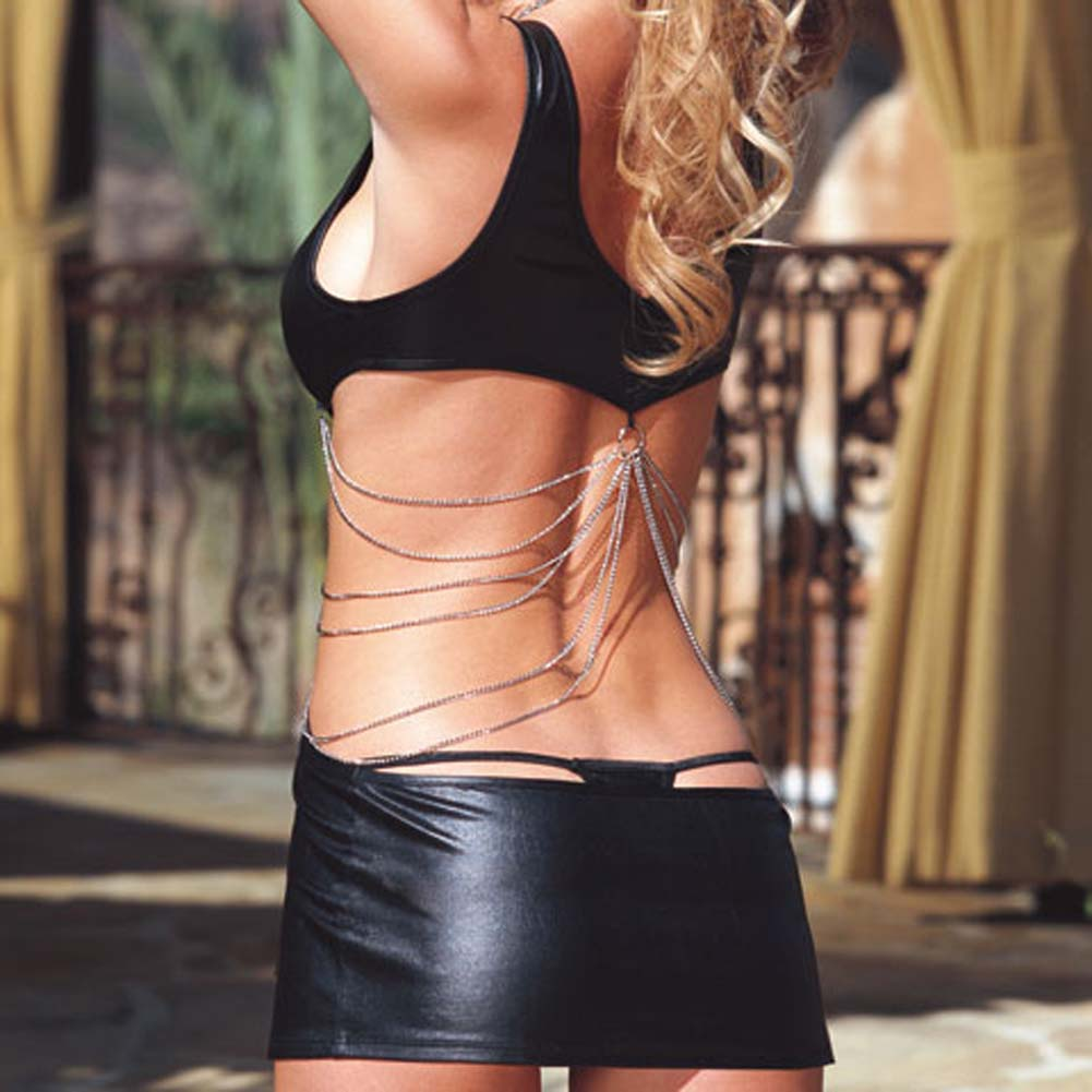 Glossy Mini Dress with Chain Details and Thong Black Large - View #4