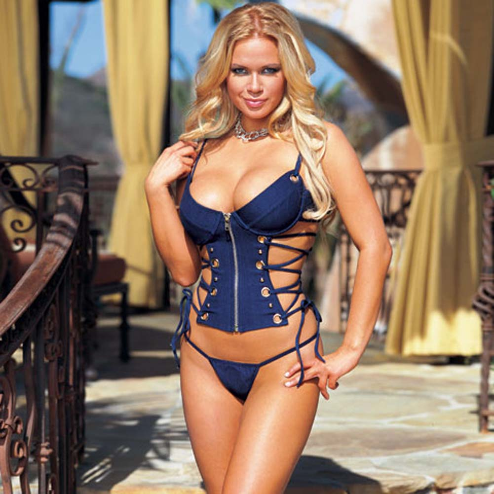 Stretch Denim Lace Down Corset with Thong Blue Small - View #1