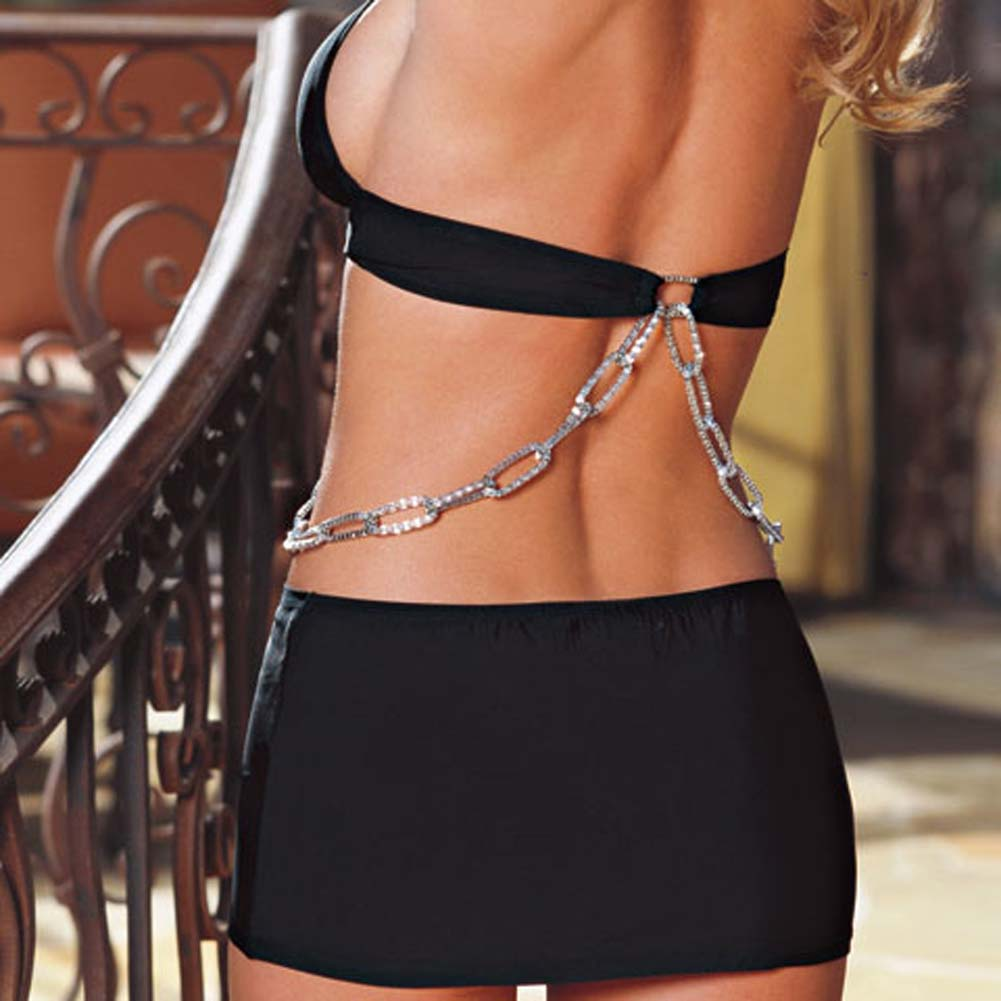 Glamorous Cut Out Halter Dress with Chains and Thong Small - View #4