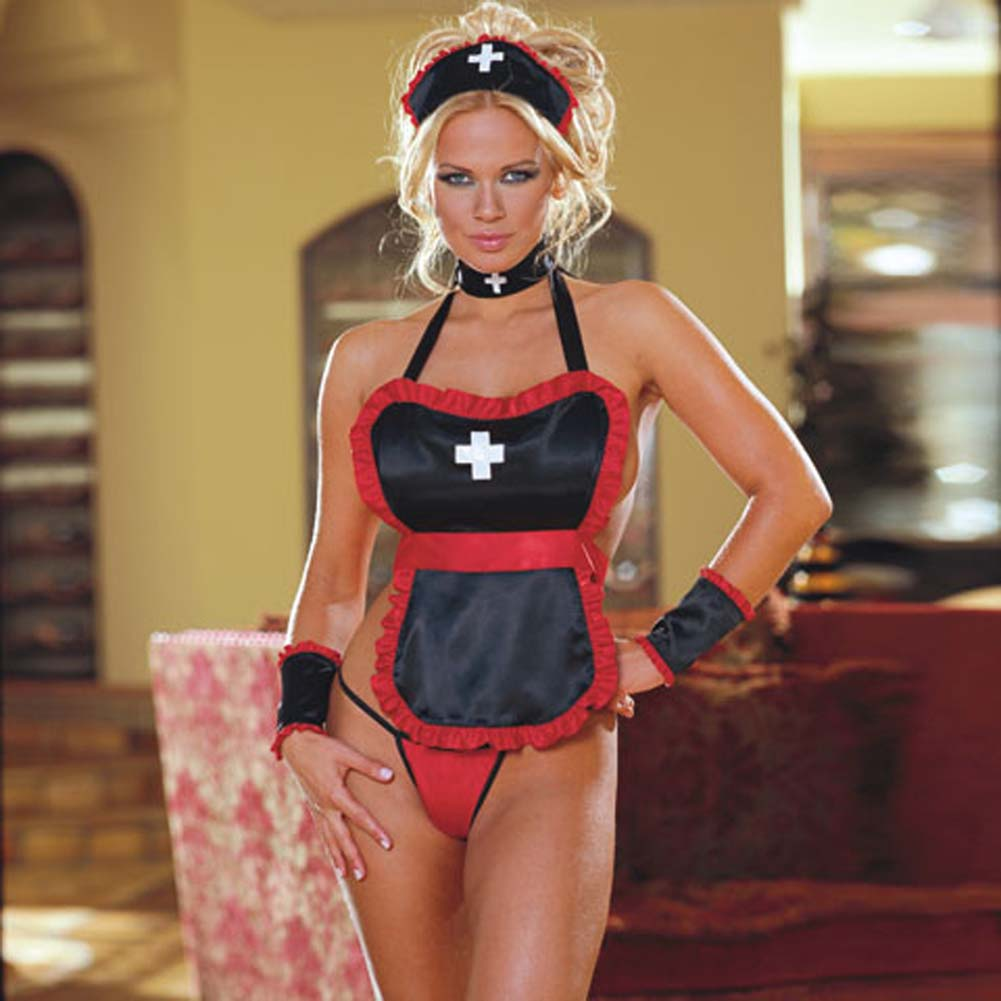 Nasty Nurse Costume Black and Red - View #1