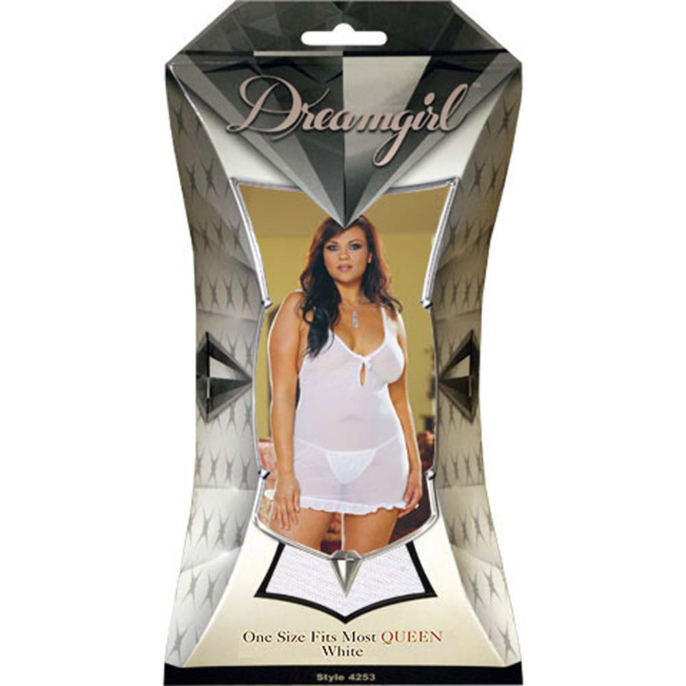 Pearl Trim Babydoll and Matching Thong Set Plus Size White - View #1