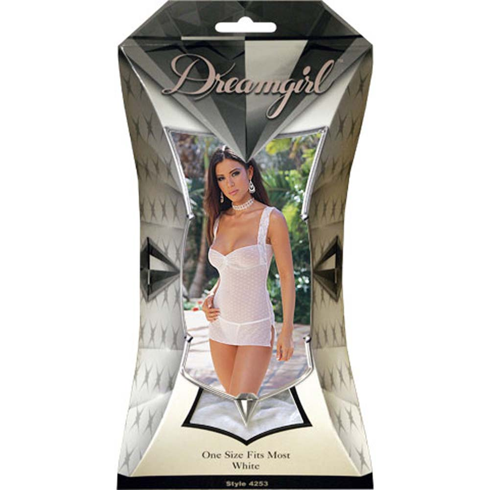 Dot Mesh Babydoll with Thong Style/4341 White - View #1
