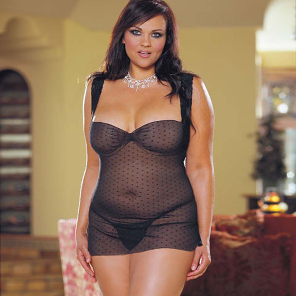 Dot Mesh Babydoll with Thong Style/4341X Black Plus - View #2